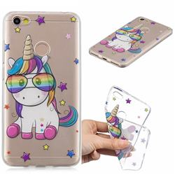 Glasses Unicorn Clear Varnish Soft Phone Back Cover for Xiaomi Redmi Note 5A