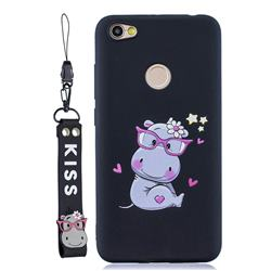 Black Flower Hippo Soft Kiss Candy Hand Strap Silicone Case for Xiaomi Redmi Note 5A