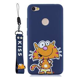 Blue Cute Cat Soft Kiss Candy Hand Strap Silicone Case for Xiaomi Redmi Note 5A