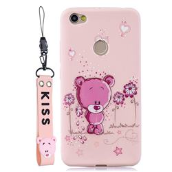 Pink Flower Bear Soft Kiss Candy Hand Strap Silicone Case for Xiaomi Redmi Note 5A