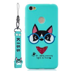 Green Glasses Dog Soft Kiss Candy Hand Strap Silicone Case for Xiaomi Redmi Note 5A