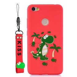 Red Dinosaur Soft Kiss Candy Hand Strap Silicone Case for Xiaomi Redmi Note 5A