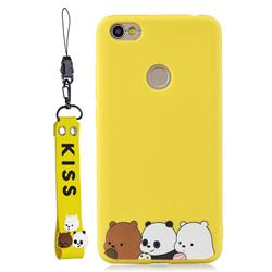 Yellow Bear Family Soft Kiss Candy Hand Strap Silicone Case for Xiaomi Redmi Note 5A
