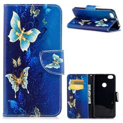 Golden Butterflies Leather Wallet Case for Xiaomi Redmi Note 5A