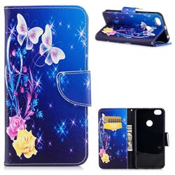 Yellow Flower Butterfly Leather Wallet Case for Xiaomi Redmi Note 5A