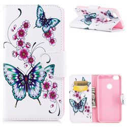 Peach Butterflies Leather Wallet Case for Xiaomi Redmi Note 5A