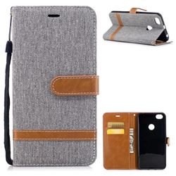 Jeans Cowboy Denim Leather Wallet Case for Xiaomi Redmi Note 5A - Gray