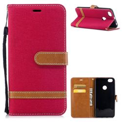Jeans Cowboy Denim Leather Wallet Case for Xiaomi Redmi Note 5A - Red