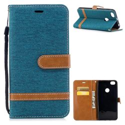 Jeans Cowboy Denim Leather Wallet Case for Xiaomi Redmi Note 5A - Green