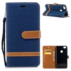 Jeans Cowboy Denim Leather Wallet Case for Xiaomi Redmi Note 5A - Dark Blue