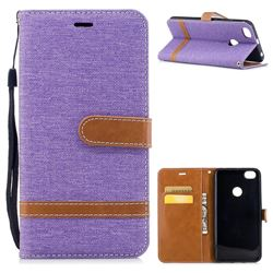 Jeans Cowboy Denim Leather Wallet Case for Xiaomi Redmi Note 5A - Purple