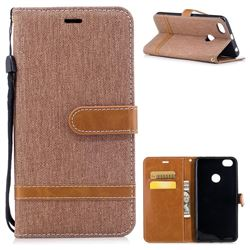 Jeans Cowboy Denim Leather Wallet Case for Xiaomi Redmi Note 5A - Brown