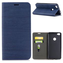 Tree Bark Pattern Automatic suction Leather Wallet Case for Xiaomi Redmi Note 5A - Blue