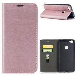 Tree Bark Pattern Automatic suction Leather Wallet Case for Xiaomi Redmi Note 5A - Rose Gold