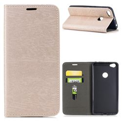 Tree Bark Pattern Automatic suction Leather Wallet Case for Xiaomi Redmi Note 5A - Champagne Gold