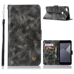 Luxury Retro Leather Wallet Case for Xiaomi Redmi Note 5A - Gray