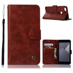 Luxury Retro Leather Wallet Case for Xiaomi Redmi Note 5A - Wine Red