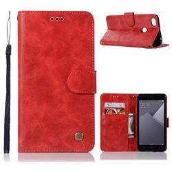 Luxury Retro Leather Wallet Case for Xiaomi Redmi Note 5A - Red