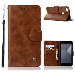 Luxury Retro Leather Wallet Case for Xiaomi Redmi Note 5A - Brown