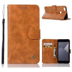 Luxury Retro Leather Wallet Case for Xiaomi Redmi Note 5A - Golden
