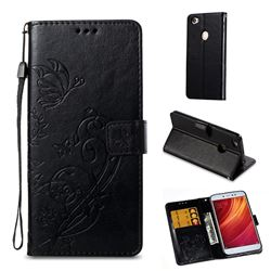Embossing Butterfly Flower Leather Wallet Case for Xiaomi Redmi Note 5A - Black