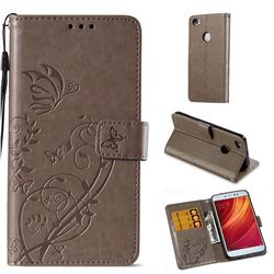 Embossing Butterfly Flower Leather Wallet Case for Xiaomi Redmi Note 5A - Grey