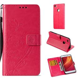 Embossing Butterfly Flower Leather Wallet Case for Xiaomi Redmi Note 5A - Rose
