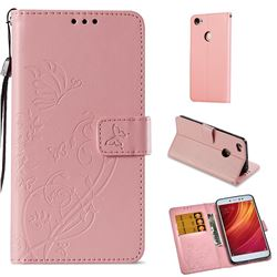 Embossing Butterfly Flower Leather Wallet Case for Xiaomi Redmi Note 5A - Pink