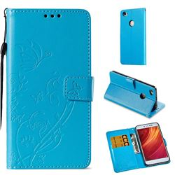 Embossing Butterfly Flower Leather Wallet Case for Xiaomi Redmi Note 5A - Blue