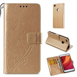 Embossing Butterfly Flower Leather Wallet Case for Xiaomi Redmi Note 5A - Champagne