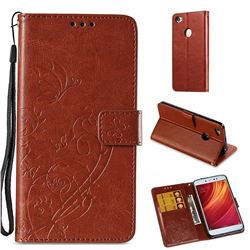 Embossing Butterfly Flower Leather Wallet Case for Xiaomi Redmi Note 5A - Brown