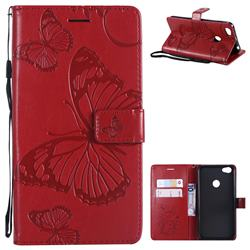 Embossing 3D Butterfly Leather Wallet Case for Xiaomi Redmi Note 5A - Red