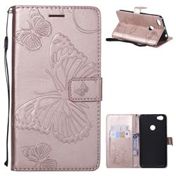 Embossing 3D Butterfly Leather Wallet Case for Xiaomi Redmi Note 5A - Rose Gold