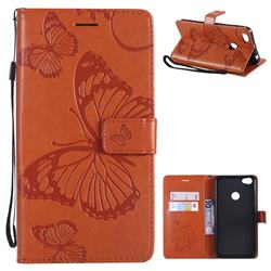 Embossing 3D Butterfly Leather Wallet Case for Xiaomi Redmi Note 5A - Orange