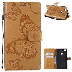 Embossing 3D Butterfly Leather Wallet Case for Xiaomi Redmi Note 5A - Yellow