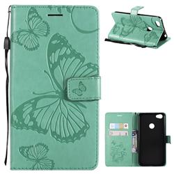 Embossing 3D Butterfly Leather Wallet Case for Xiaomi Redmi Note 5A - Green