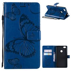 Embossing 3D Butterfly Leather Wallet Case for Xiaomi Redmi Note 5A - Blue
