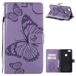 Embossing 3D Butterfly Leather Wallet Case for Xiaomi Redmi Note 5A - Purple