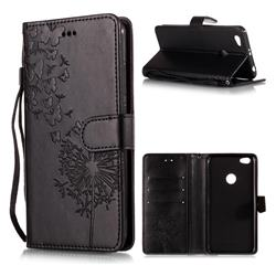 Intricate Embossing Dandelion Butterfly Leather Wallet Case for Xiaomi Redmi Note 5A - Black