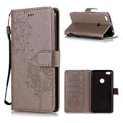Intricate Embossing Dandelion Butterfly Leather Wallet Case for Xiaomi Redmi Note 5A - Gray