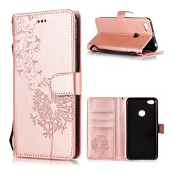 Intricate Embossing Dandelion Butterfly Leather Wallet Case for Xiaomi Redmi Note 5A - Rose Gold