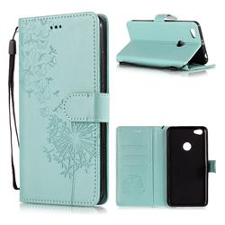 Intricate Embossing Dandelion Butterfly Leather Wallet Case for Xiaomi Redmi Note 5A - Green