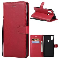 Retro Greek Classic Smooth PU Leather Wallet Phone Case for Xiaomi Redmi Note 5A - Red