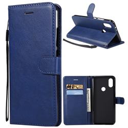 Retro Greek Classic Smooth PU Leather Wallet Phone Case for Xiaomi Redmi Note 5A - Blue