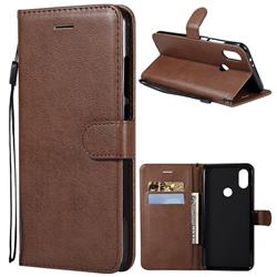 Retro Greek Classic Smooth PU Leather Wallet Phone Case for Xiaomi Redmi Note 5A - Brown