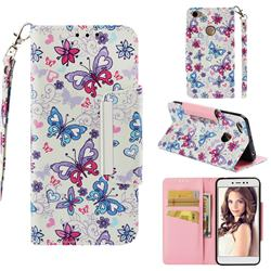 Colored Butterfly Big Metal Buckle PU Leather Wallet Phone Case for Xiaomi Redmi Note 5A