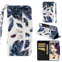 Peacock Feather Big Metal Buckle PU Leather Wallet Phone Case for Xiaomi Redmi Note 5A