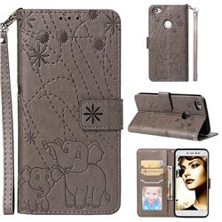 Embossing Fireworks Elephant Leather Wallet Case for Xiaomi Redmi Note 5A - Gray