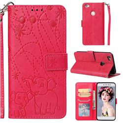 Embossing Fireworks Elephant Leather Wallet Case for Xiaomi Redmi Note 5A - Red