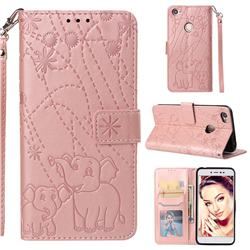 Embossing Fireworks Elephant Leather Wallet Case for Xiaomi Redmi Note 5A - Rose Gold